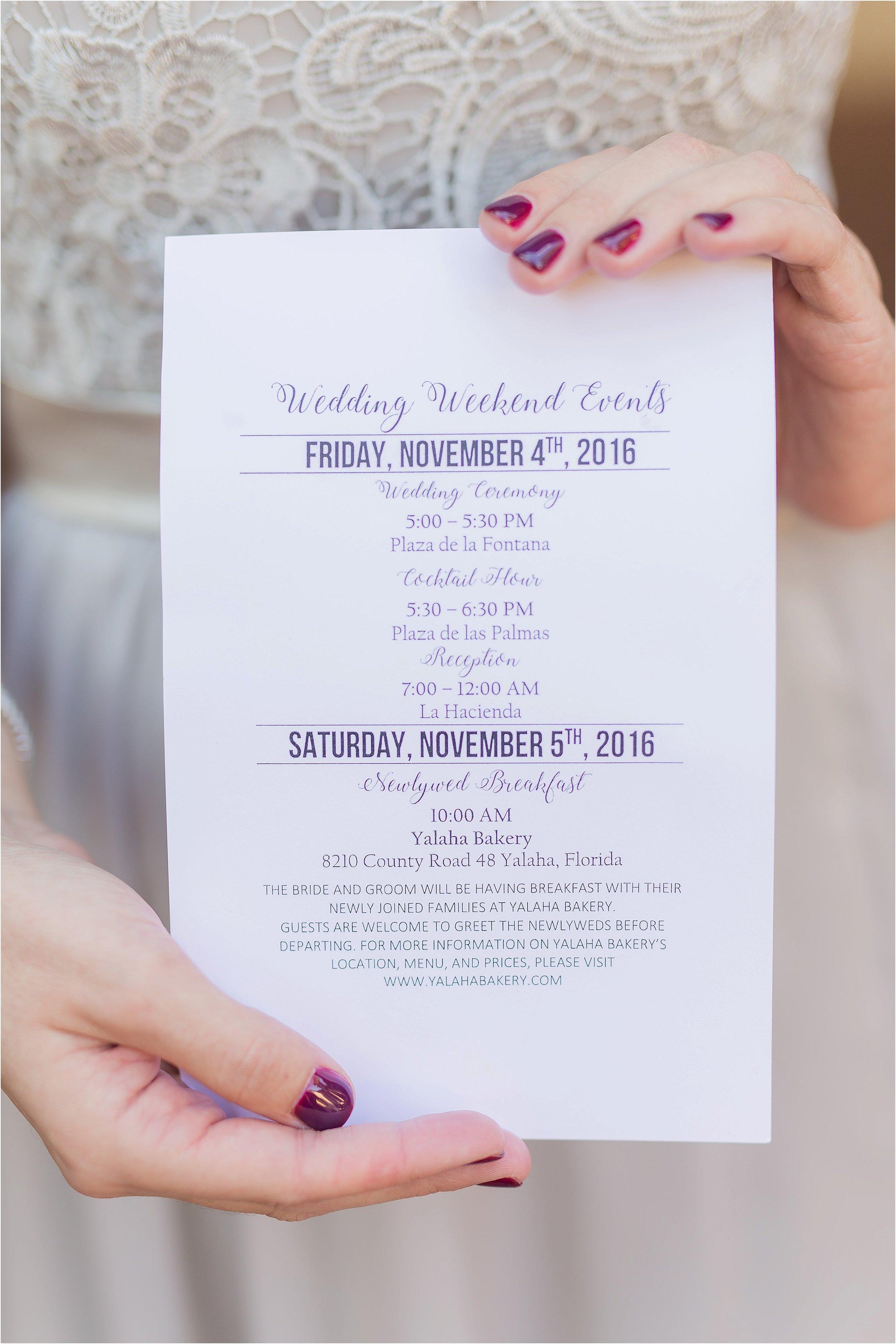 Wedding Details of Wedding Day Activities List