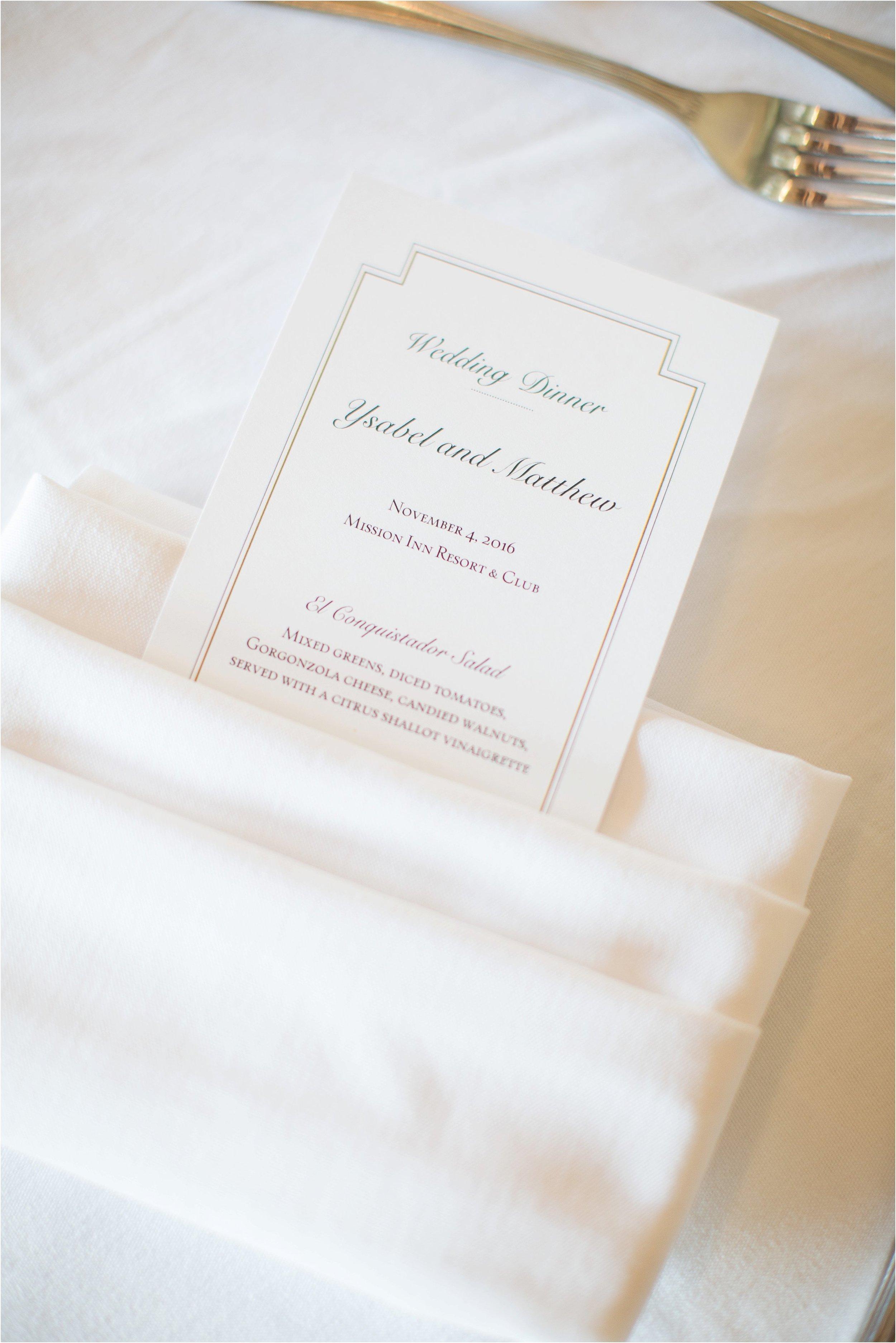 Lovely napkin details at reception at Mission Inn Wedding