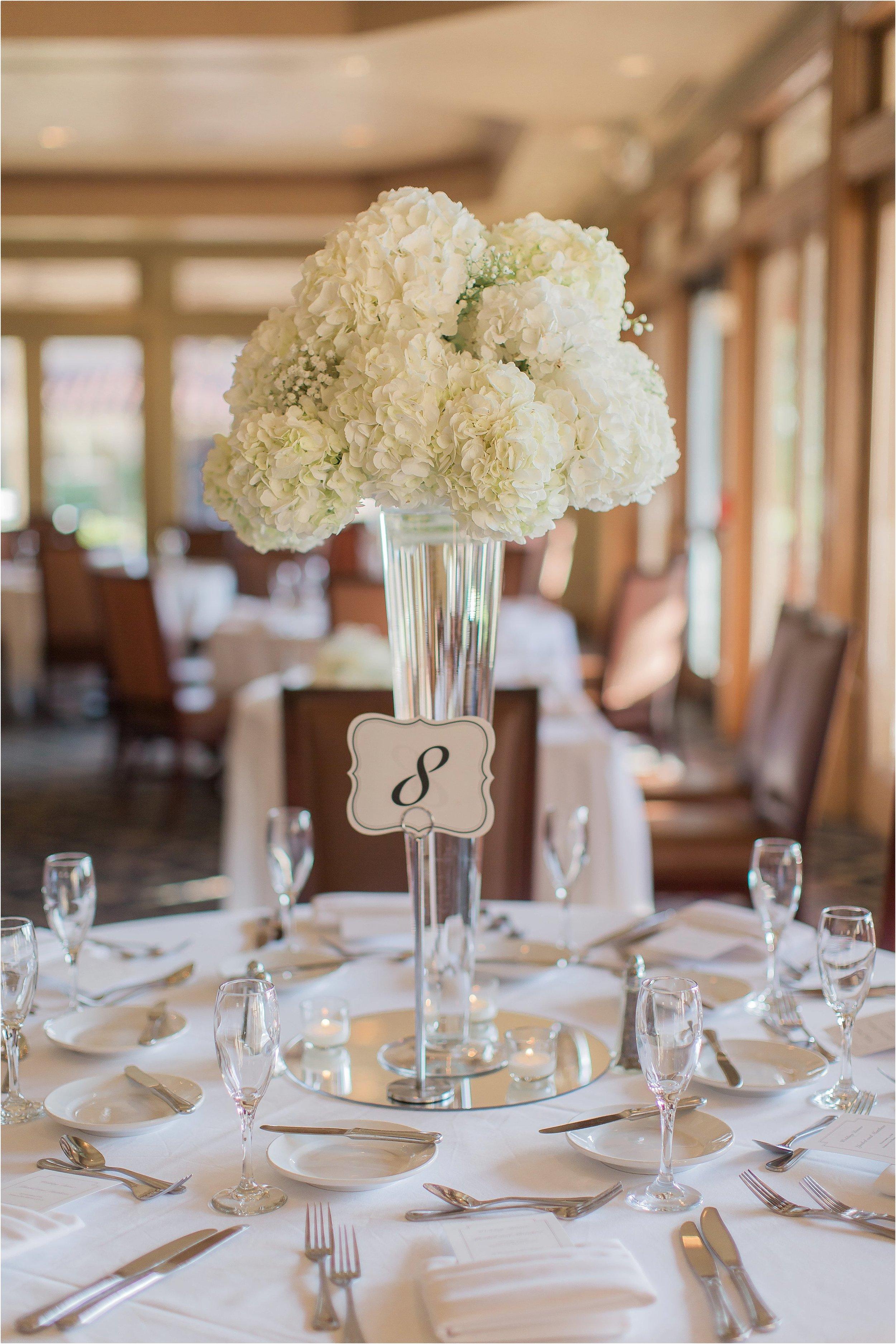 Gorgeous High Hydrangea Centerpieces at Mission Inn Wedding
