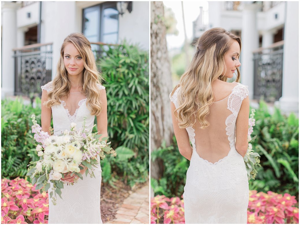 Gorgeous Bridal Portraits with low cut lace dress from White Magnolia Bridal - Black Dolphin Inn Wedding