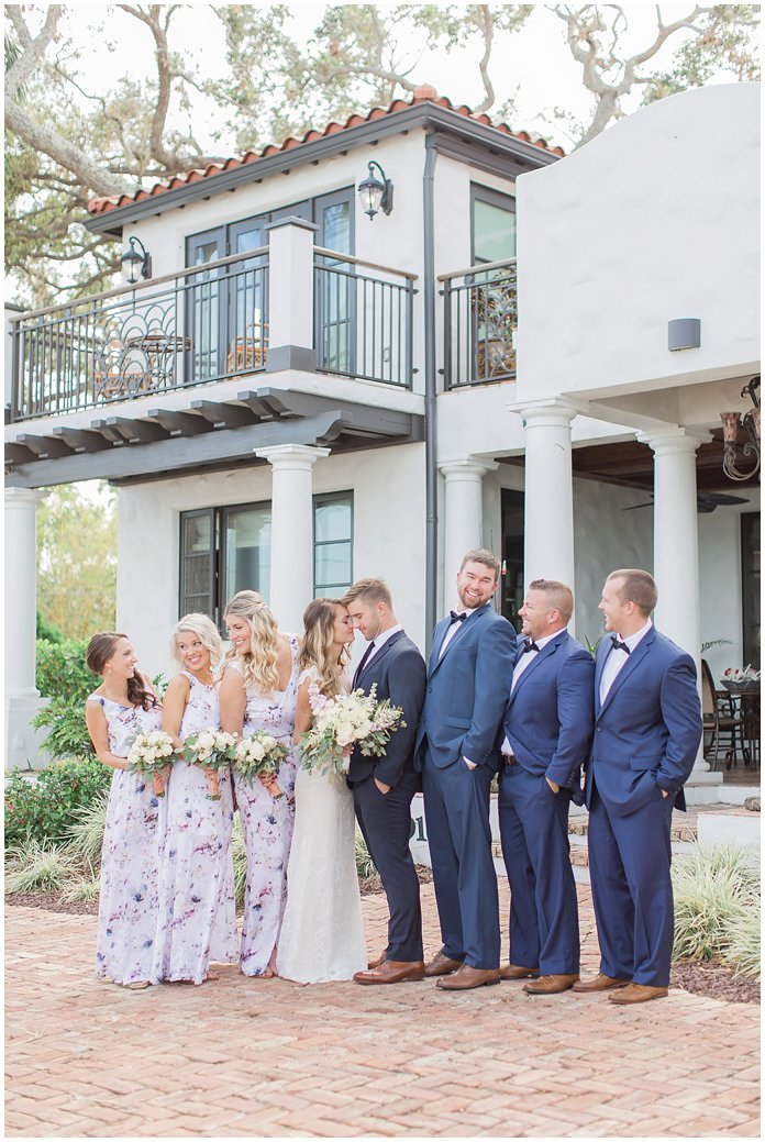 Bridal Party in Show Me Your Mumu and Blue Suits at Black Dolphin Inn