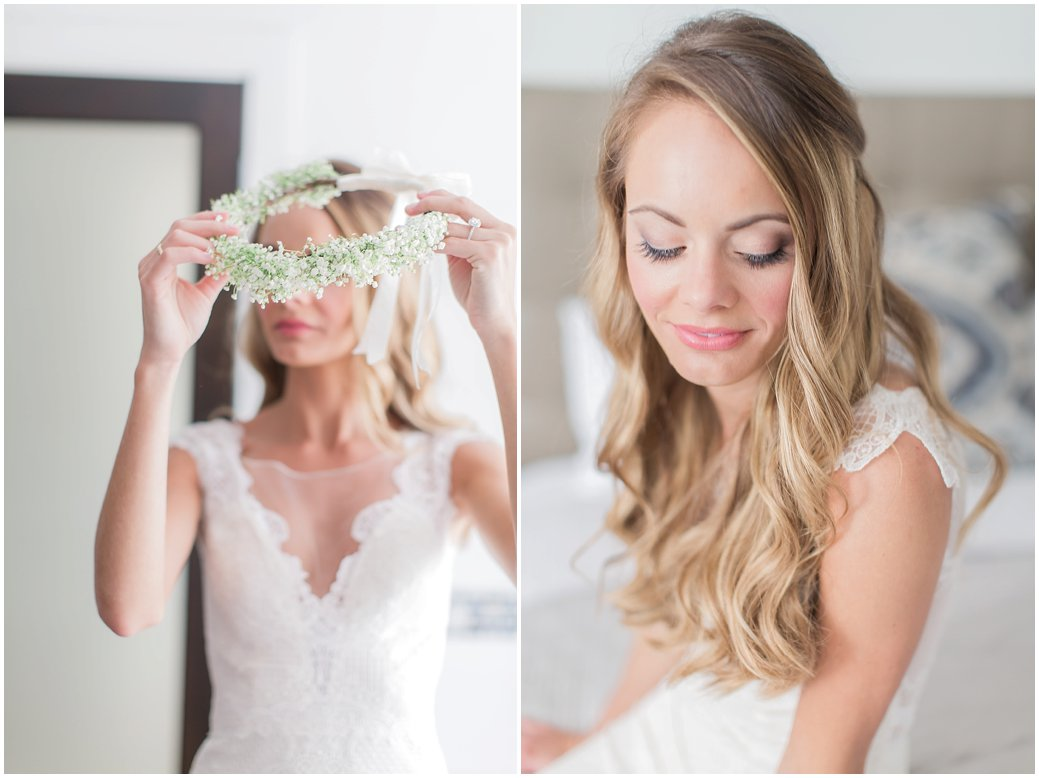 Bridal portraits with floral crown at the Black Dolphin Inn