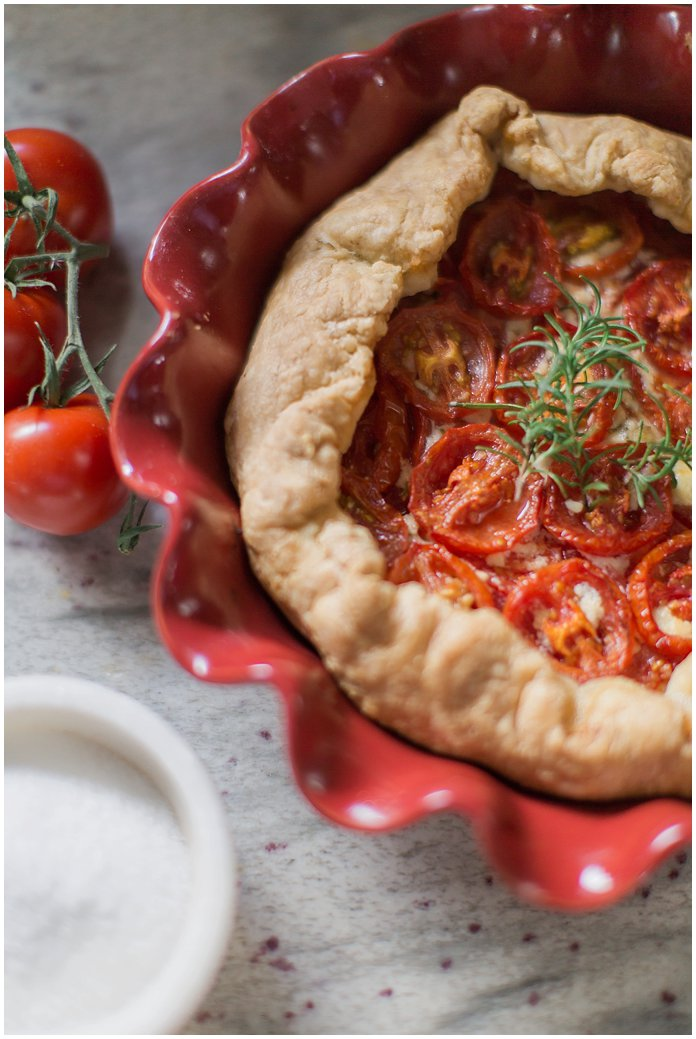 Mascarpone Tomato Tart Recipe with Sea Salt and Butter Pie Crust