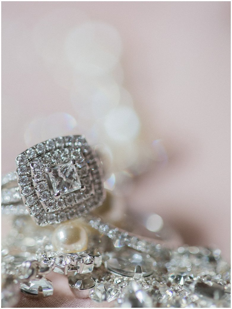 Bridal Oaks Blush Wedding in DeLand Florida Halo Rings