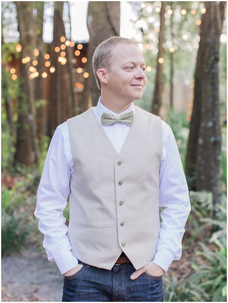 Handsome Groom at Bridle Oaks DeLand Florida Wedding