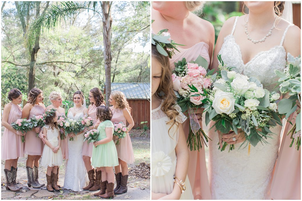 Blush Wedding with Pink Garden Roses in Bridesmaids Bouquets