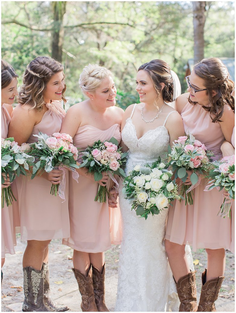 Blush Wedding with Pink Garden Roses with Italian Ruscus and Dusty Miller in Bouquets