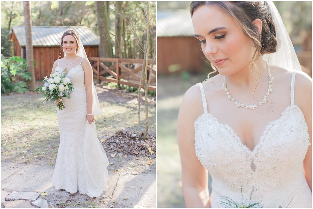 Bridal Portraits in Lovely Chic Wedding Gown for Florida Wedding