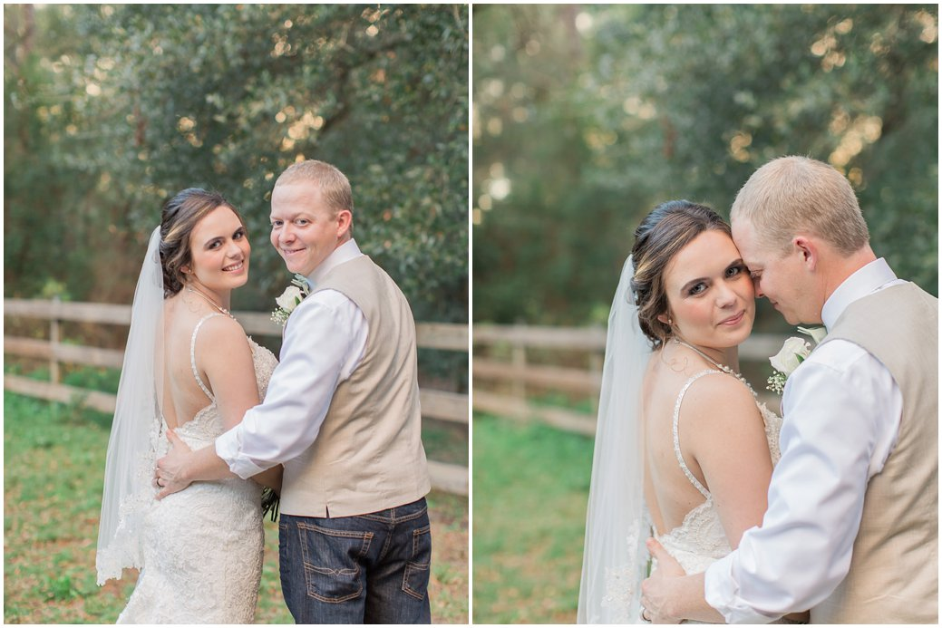 Bride and Groom Romantic Posing at Bridle Oaks DeLand Florida