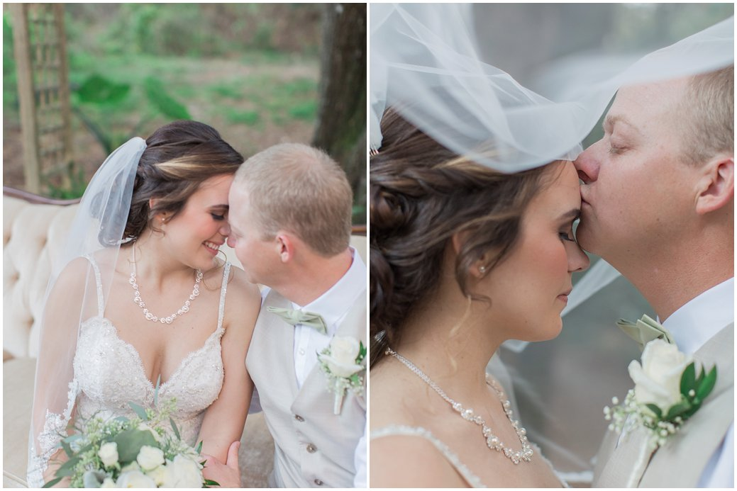 Bridle Oaks Blush Wedding Bride and Groom Photoshoot with Garden Roses and Dusty Millers and Ruscus Poses Veil Kiss