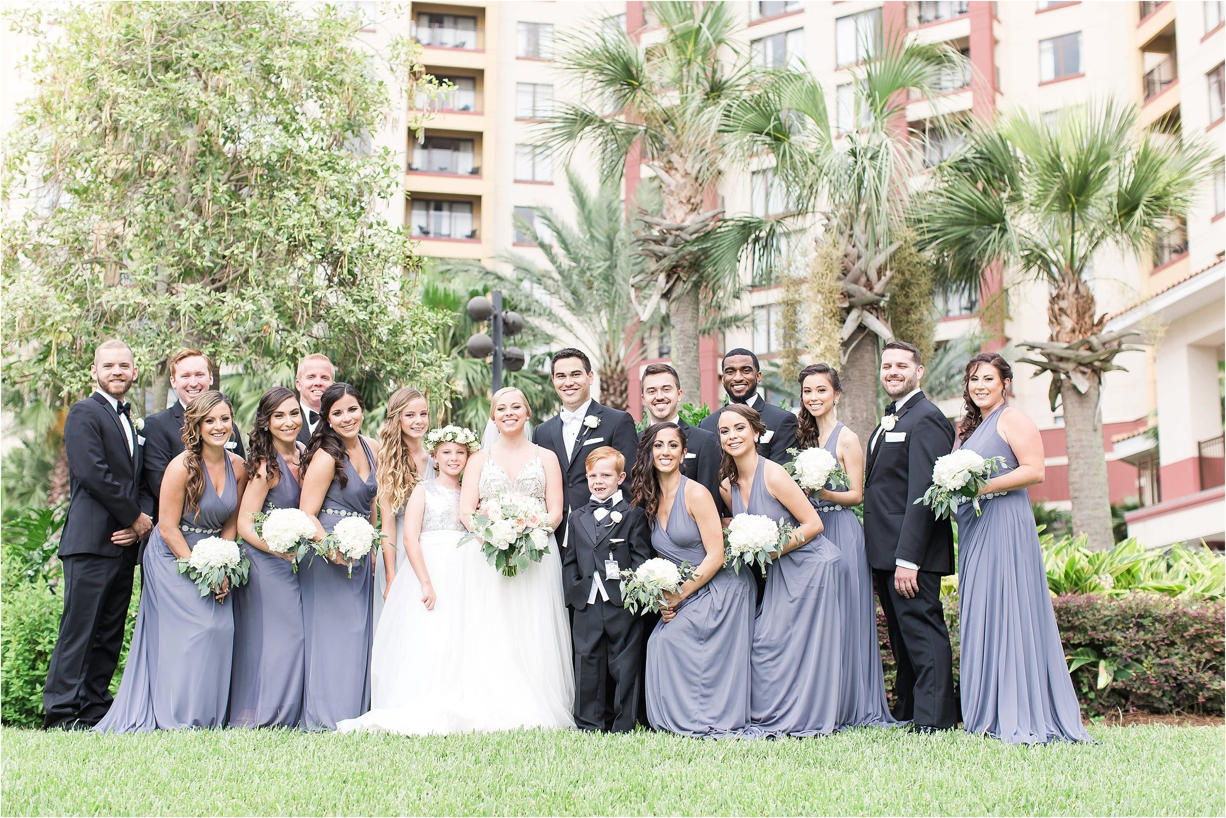 Grey white and black bridal party at Wyndham Grand at Bonnet Creek wedding by PSJ Photography