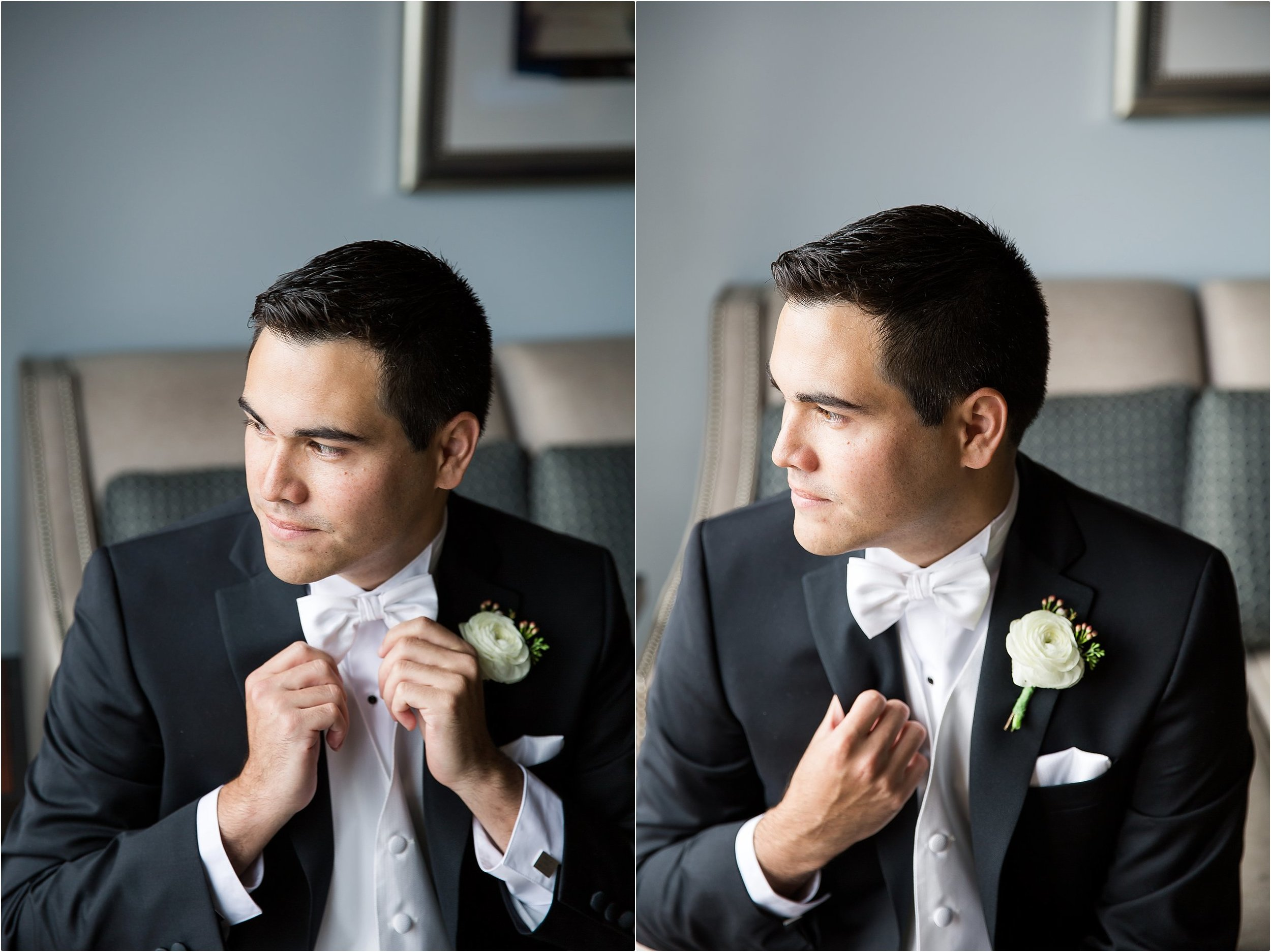 Groom getting ready portraits with ranunculus boutonniere