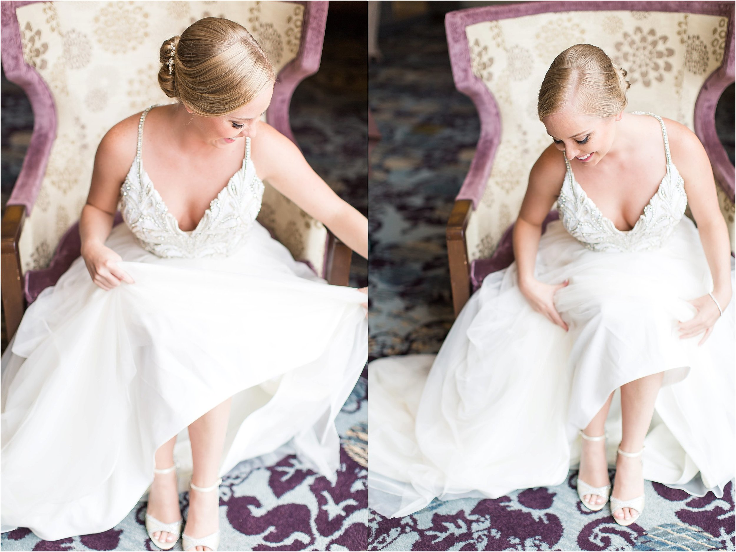 Bride Portraits Hayley Paige wedding gown getting ready moments at Bonnet Creek Wedding by PSJ Photography