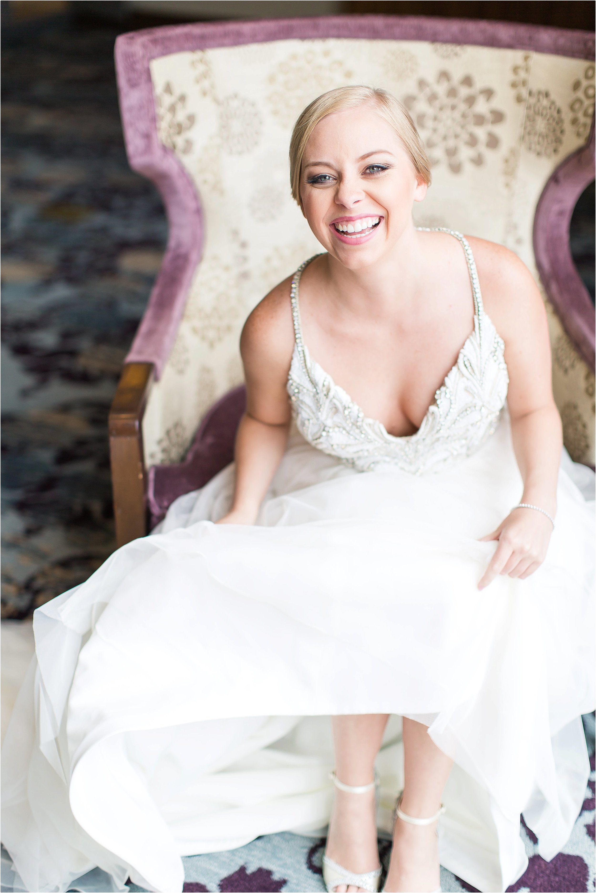 Timeless bridal portrait in Hayley Paige wedding gown Hayley Paige wedding gown getting ready moments at Bonnet Creek Wedding by PSJ Photography