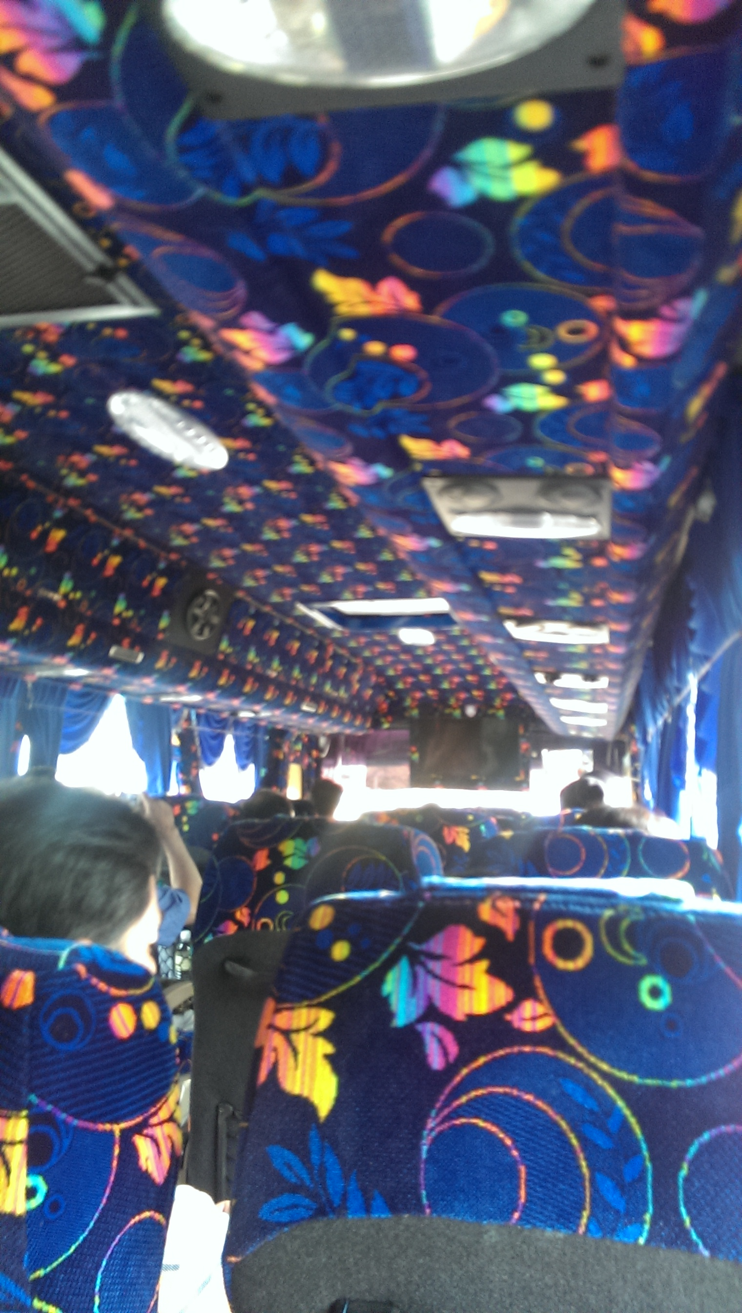 Gotta love the color scheme of the tour bus.