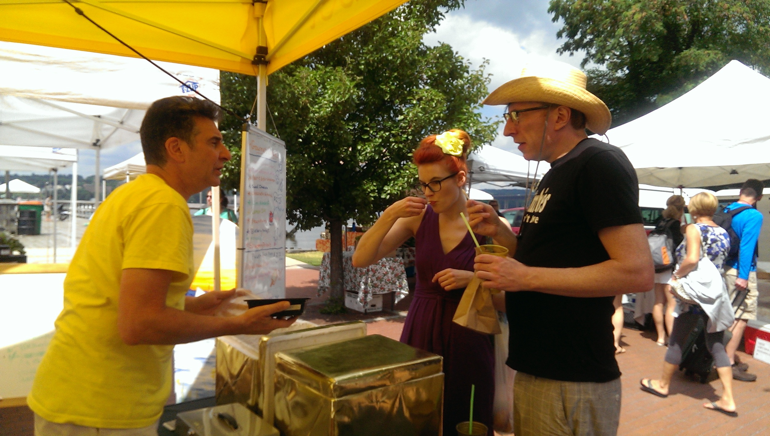 J with the sorbet samples and K and S hanging out tasting the frozen treats.