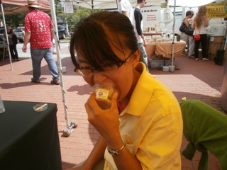 The sorbet sales assistant, totally eating merchandise.