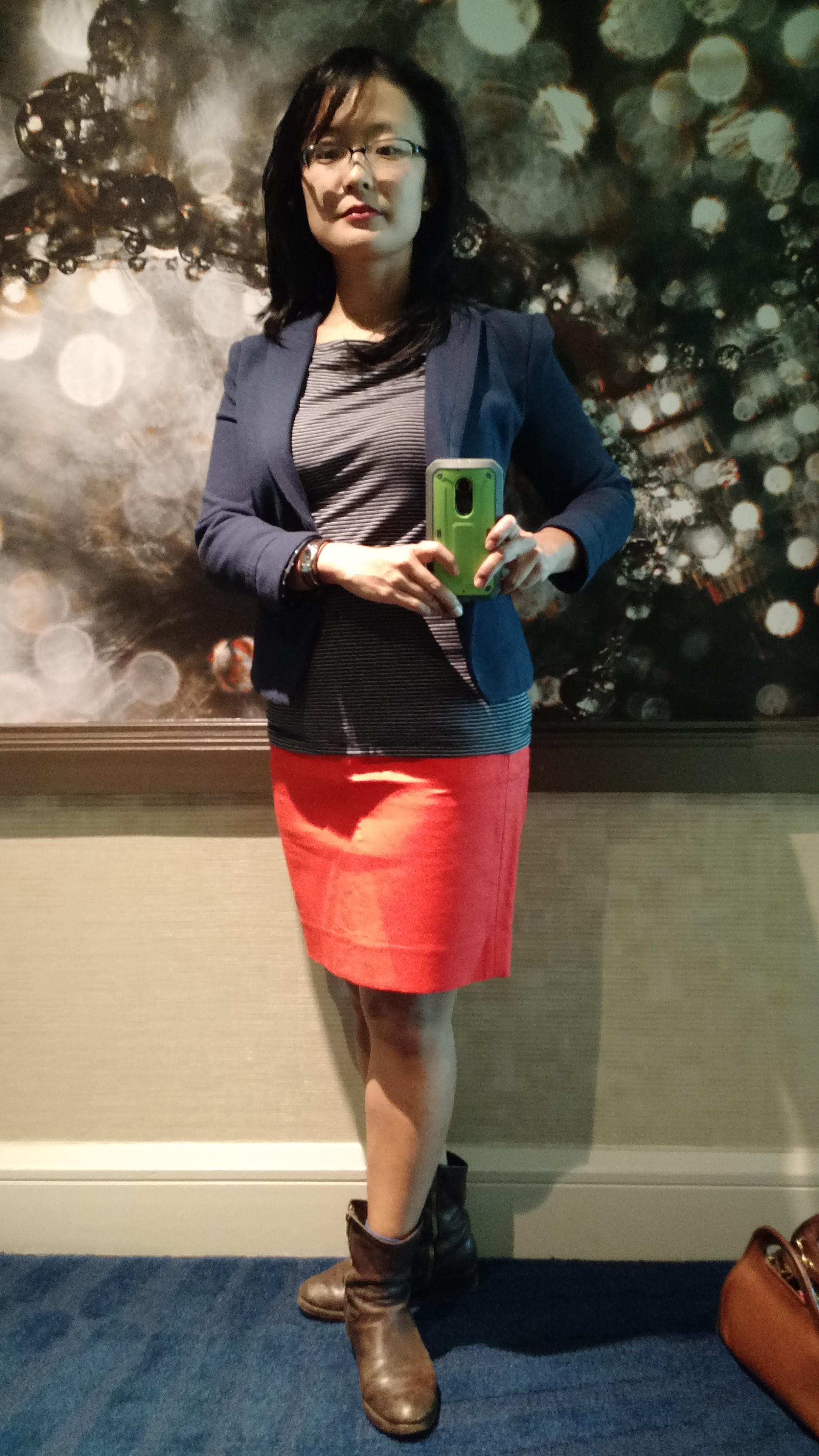 DAY 1 TRADESHOW OUTFIT HOT PINK PENCIL SKIRT