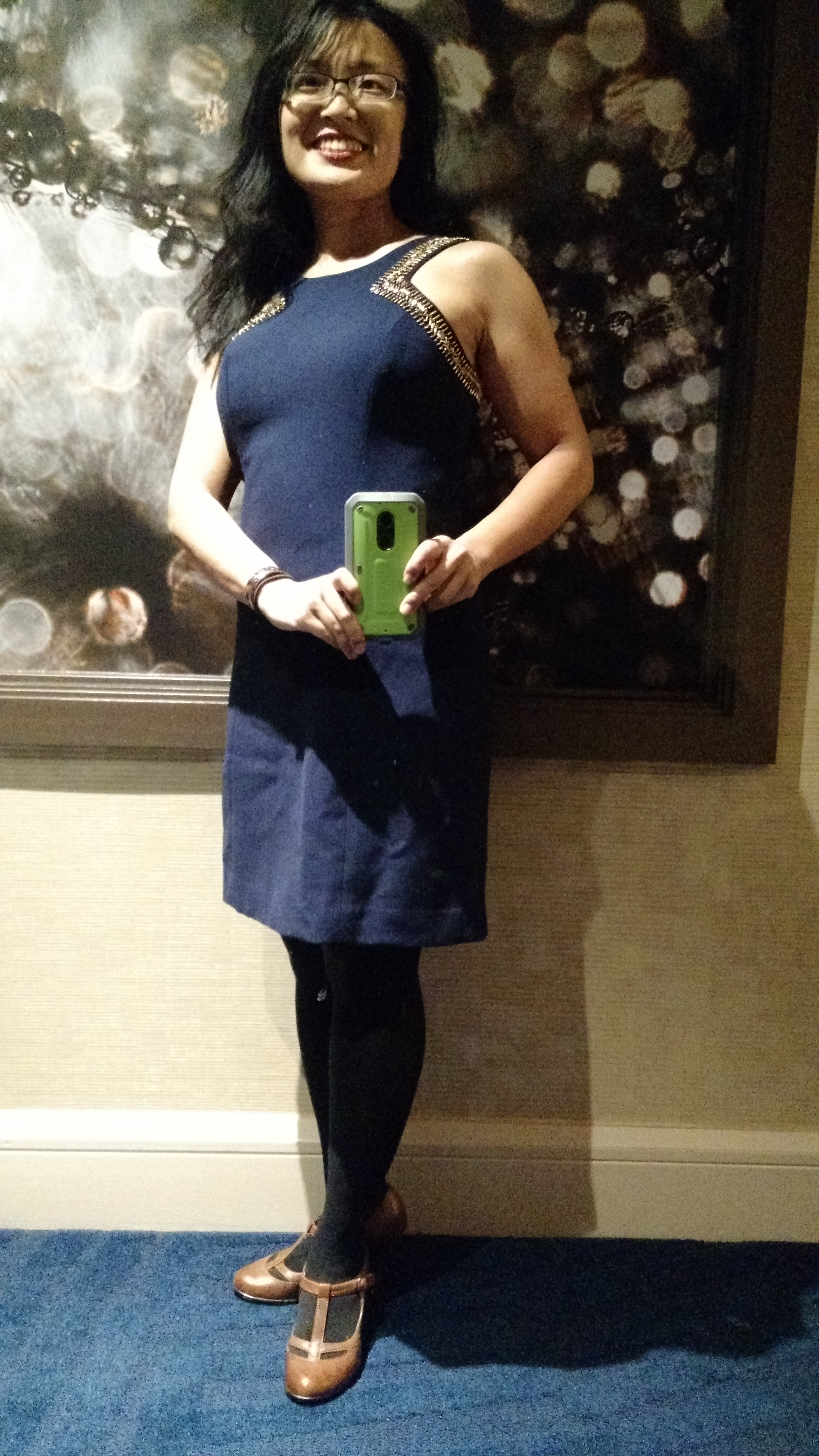 DAY 3 DINNER OUTFIT NAVY GOLD DRESS