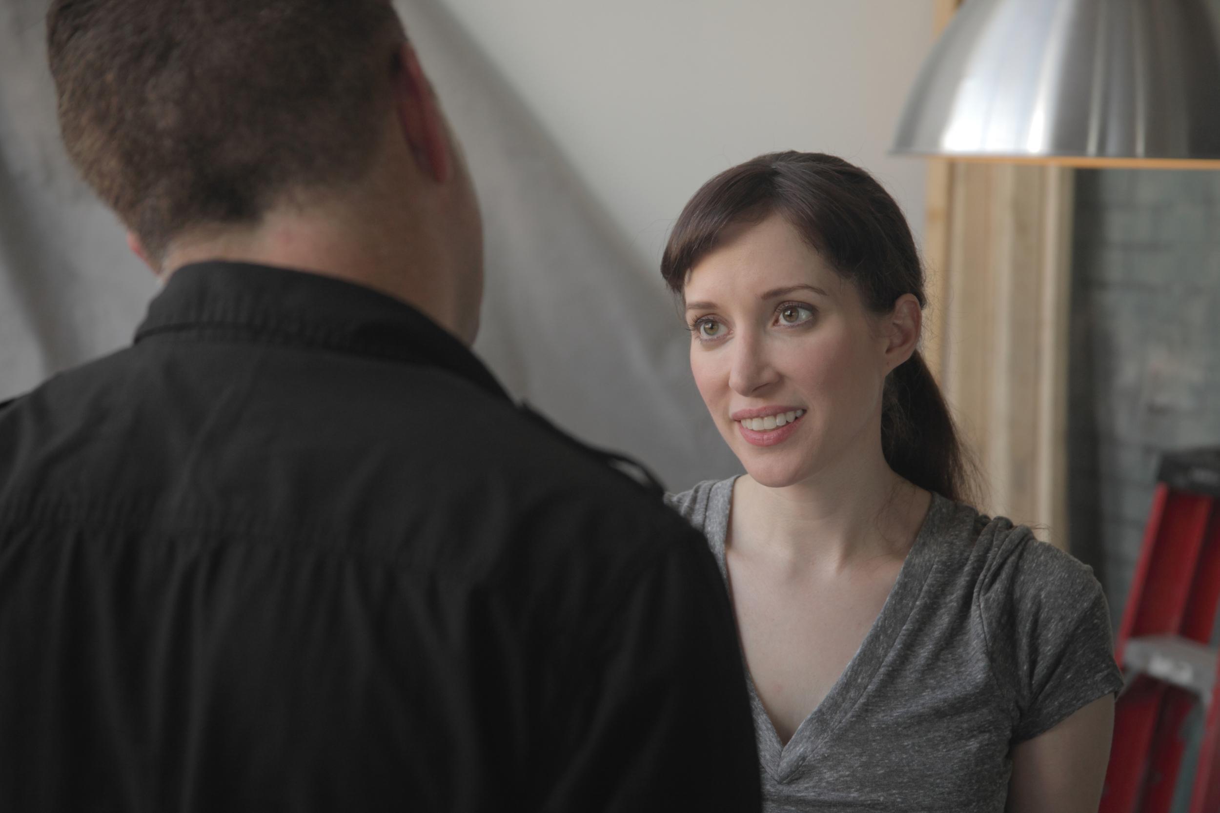 Writer/Director Jeff Roe discusses script elementswith RECA113 star FynnO'Hara (Photo: Dylan Sanford)