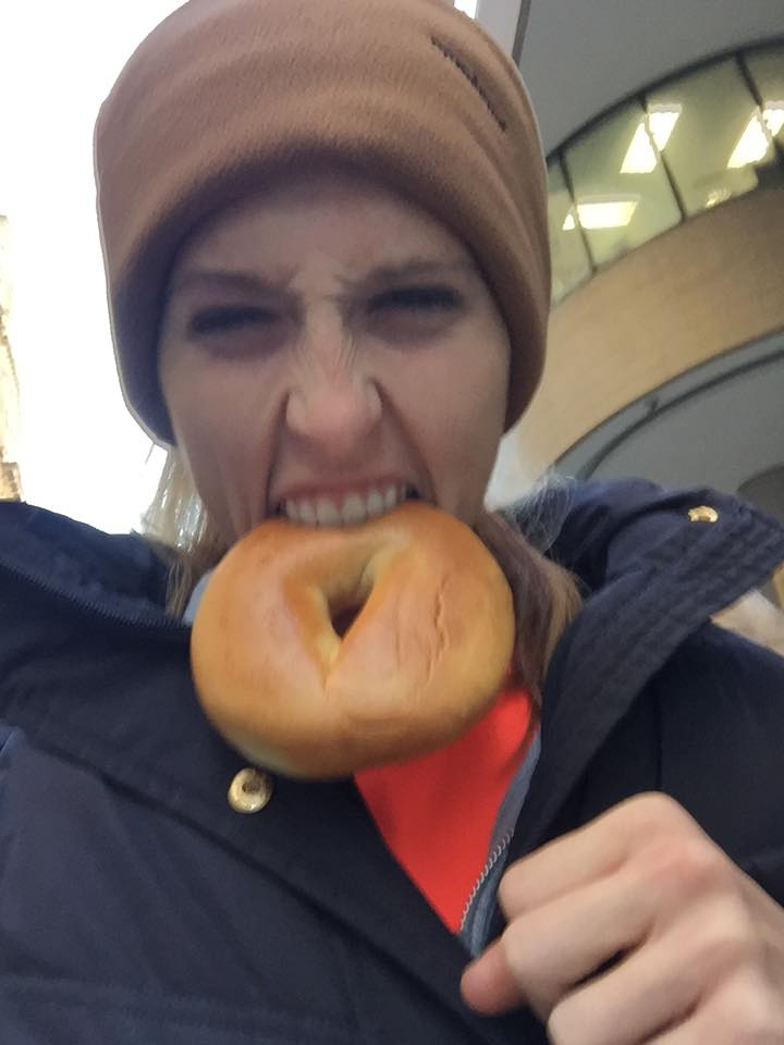 "I thought an obnoxious picture of me eating a bagel would be good here! HA! Why a bagel? Because I had a long run and it has 60g C NOT because bagels are ""good or bad"" for you!"