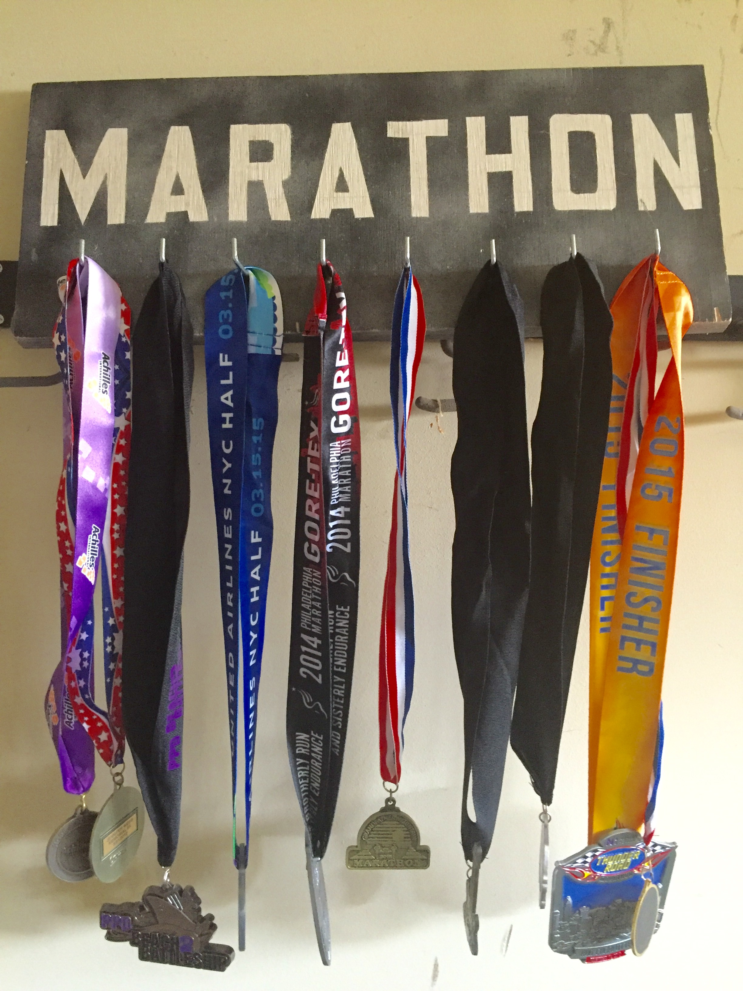 Of course I hung up my new medal too which is the far one on the right!