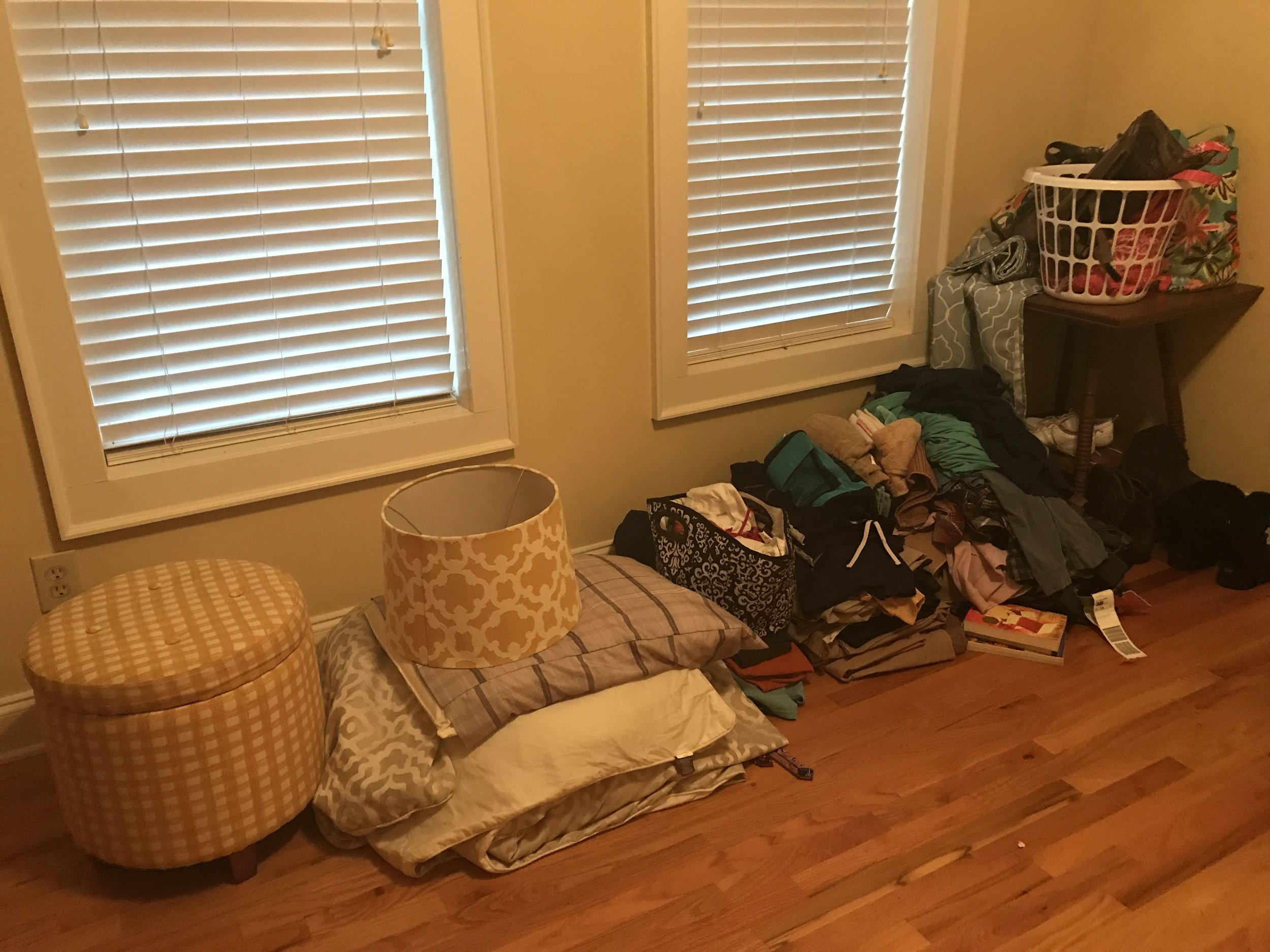 """This is the photo I sent to my mom and said """"one day we will have nothing left and it will be wonderful."""" and she sent back """"*inserts eye roll*"""". My mom keeps EVERYTHING. I keep nothing and tell her she made me clutter phobic, so we balance each other out ;)"""