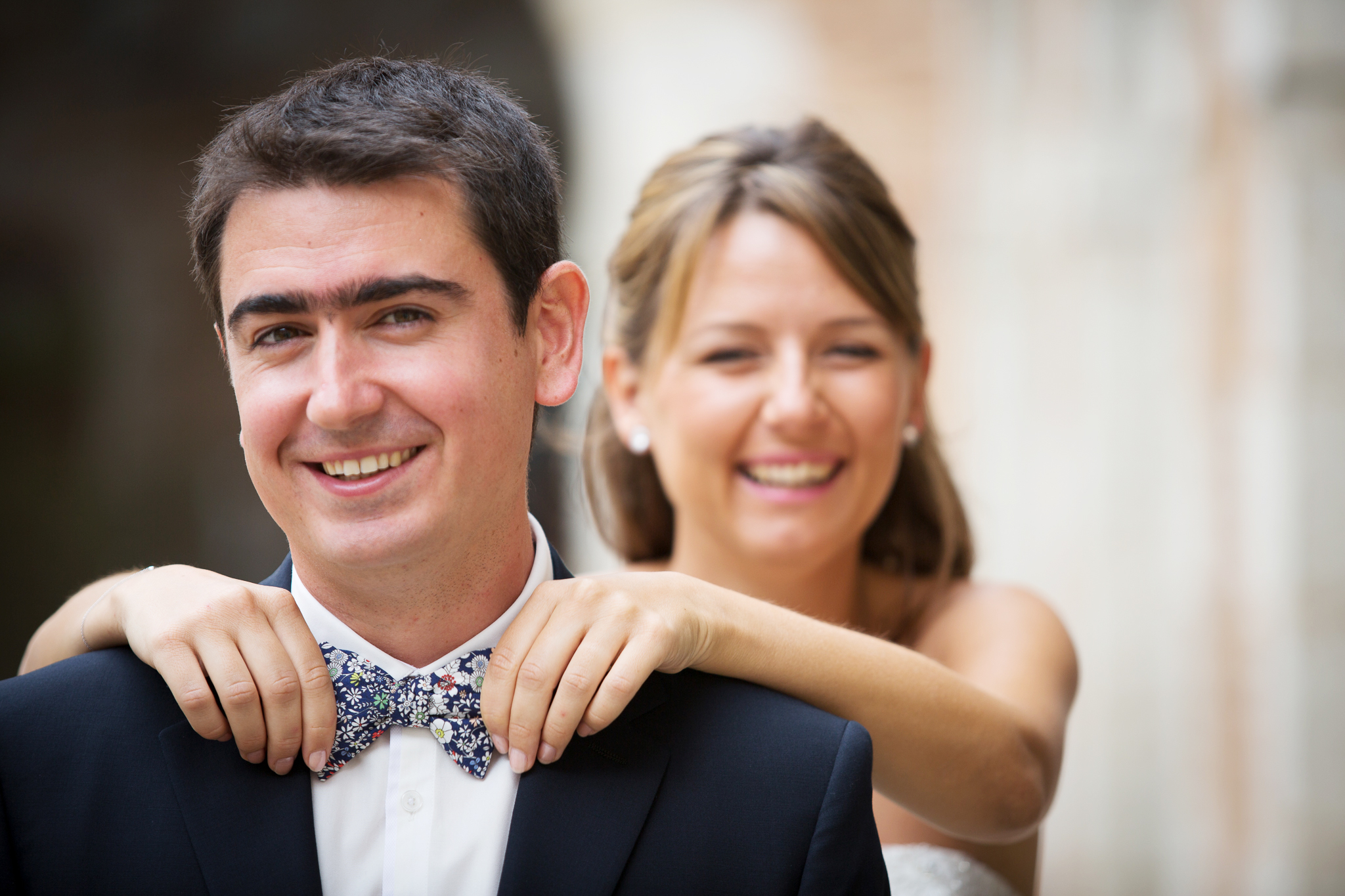 Mariés, mariage noeud papillon