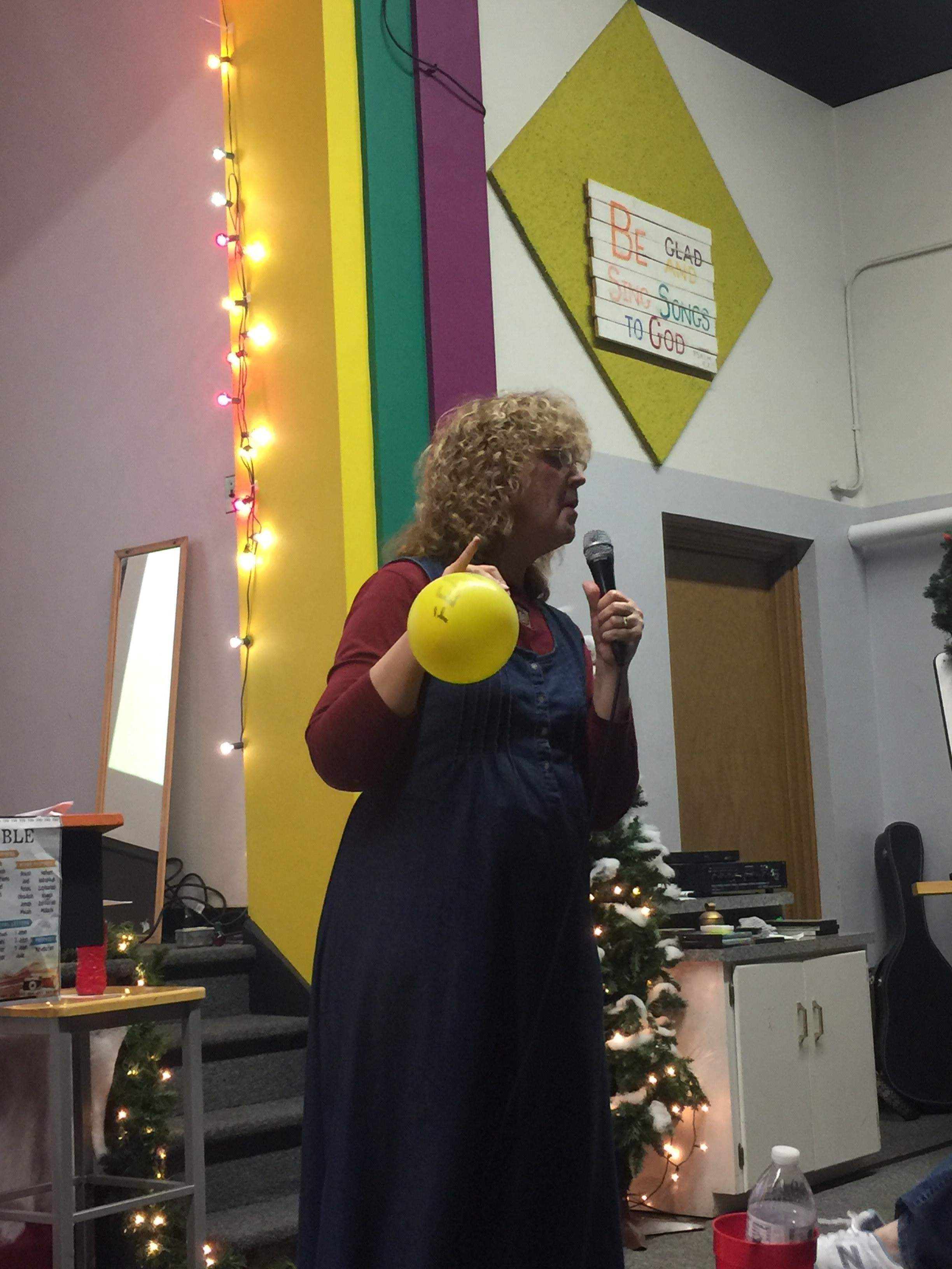 Miss Cookie had a balloon with the word FEAR written on it. Every time someone said what one of their fears were, she blew it up more. This showed the kids how our fears can grow.