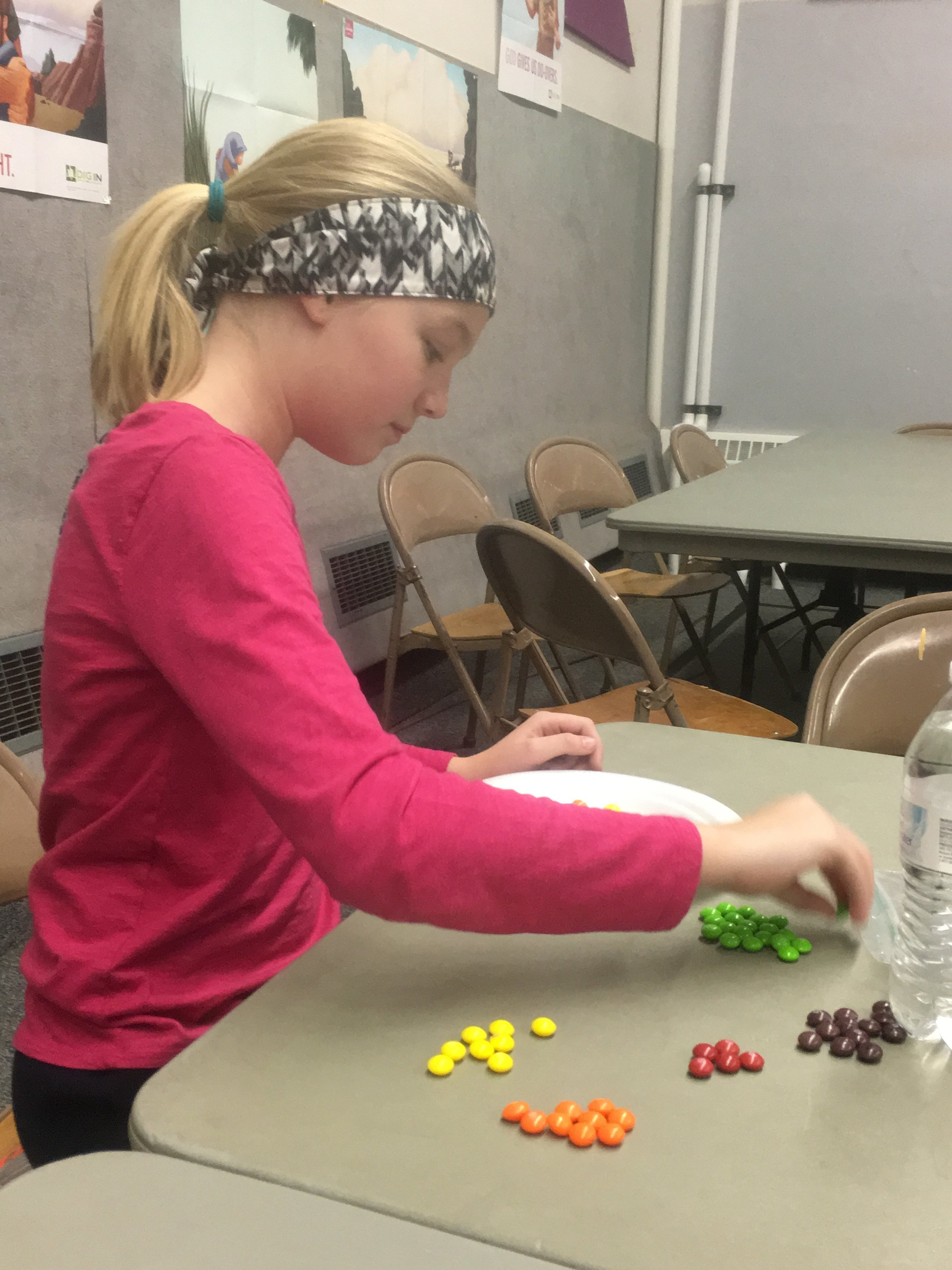 Kids got a bag of skittles, a plate and a water bottle. They needed to put 20 skittles around the edge of the plate.