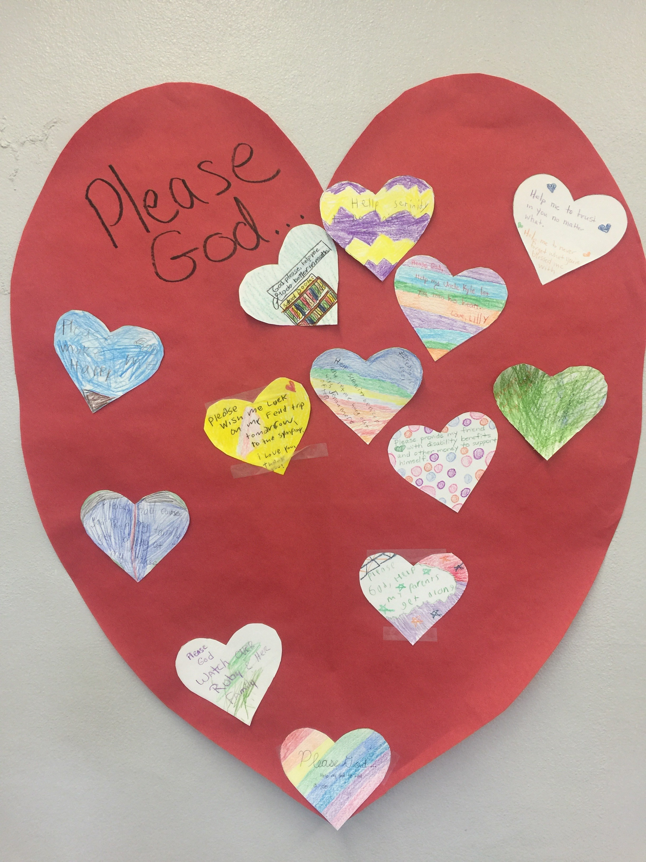 We then put our prayer on the heart based on how we wrote our prayer.