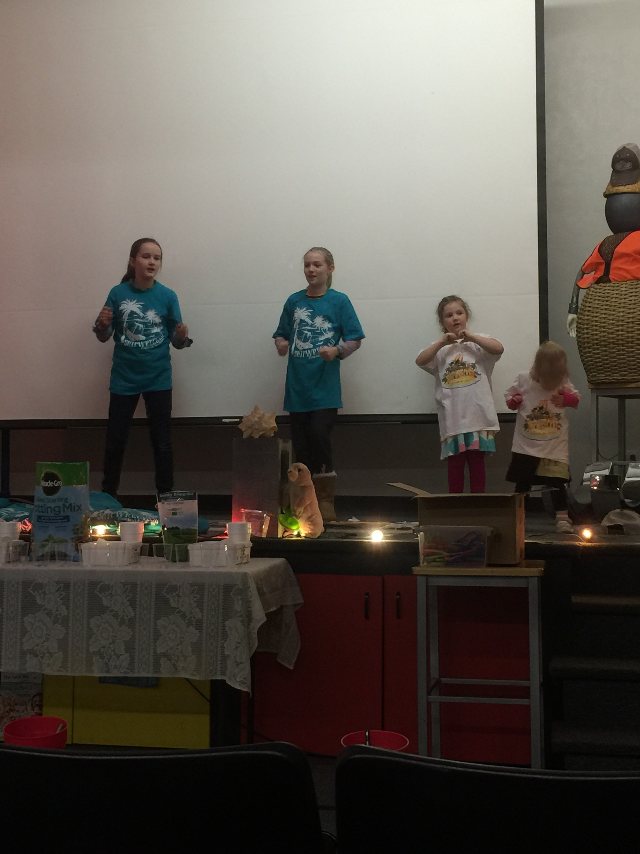 "The girls were teaching one of our songs from VBS, My Lighthouse, to the kids at WOW. This is just part of the fun the kids will have a VBS this summer when they are ""Rescued By Jesus""!"