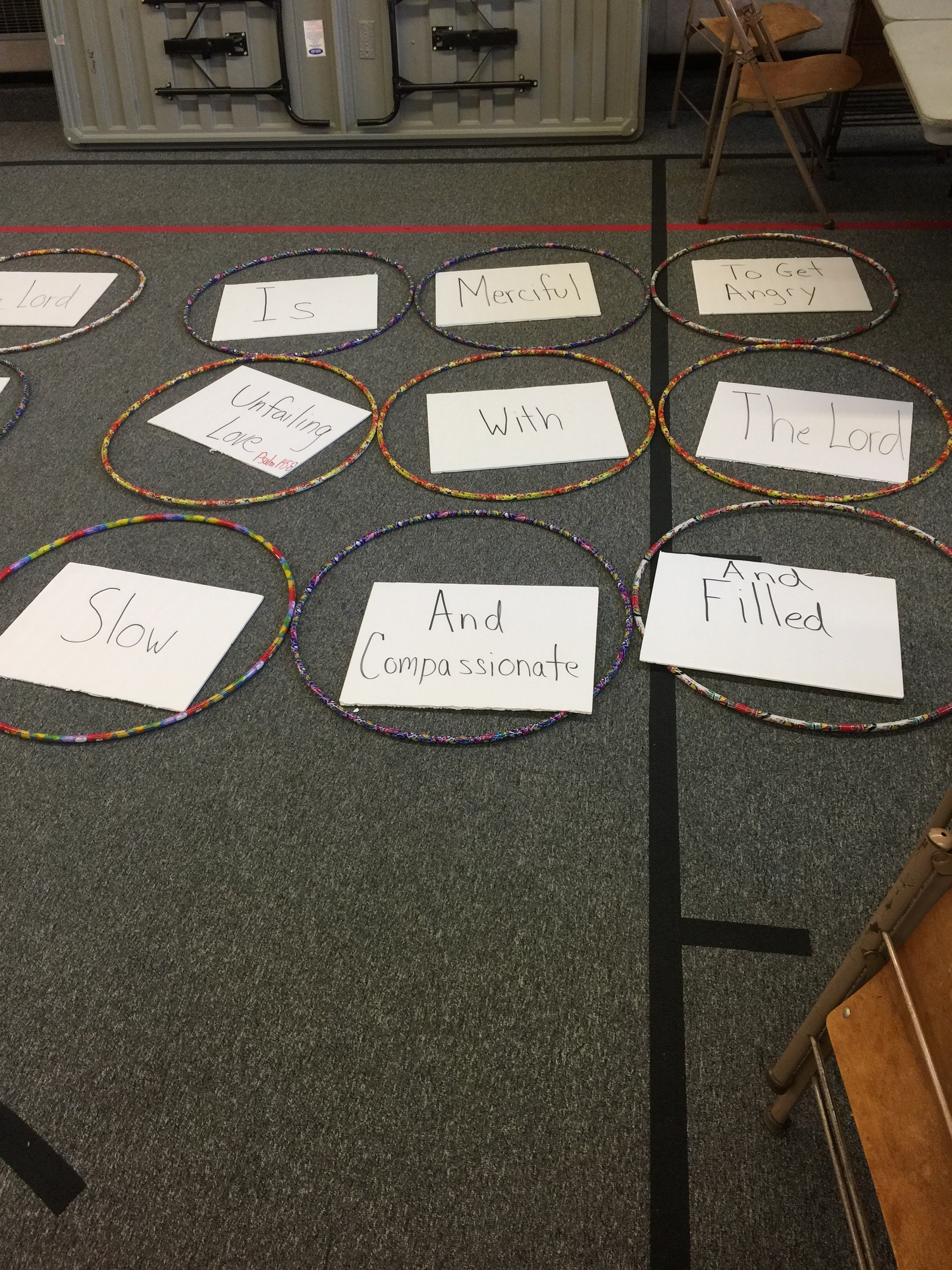 We had to unscramble a verse about forgiveness in teams.