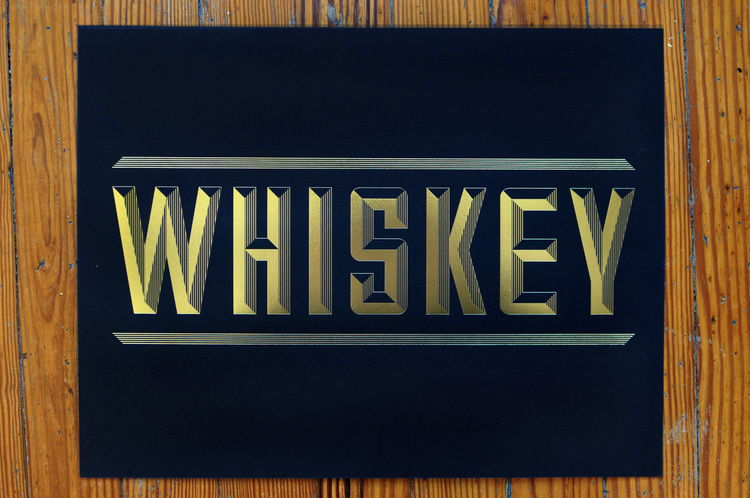 WHISKEY   Gold Foil Print // Love & Victory