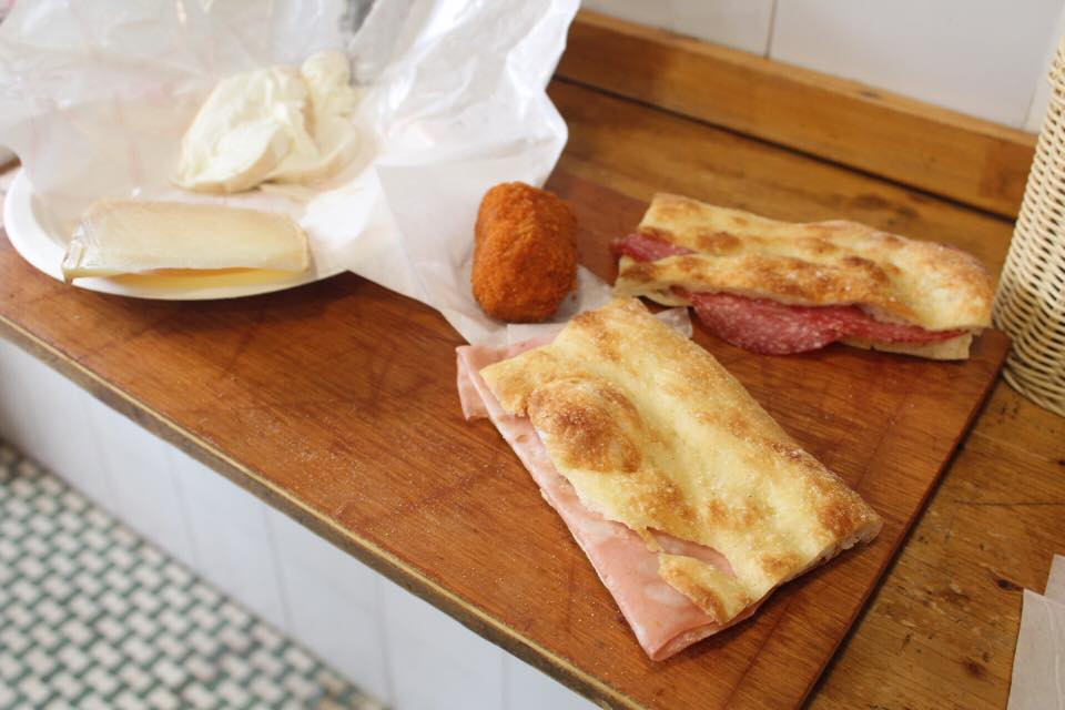 Ham & Salami panini with cheese and suppli @  La Panetteria Romana e Spaccio di Paste