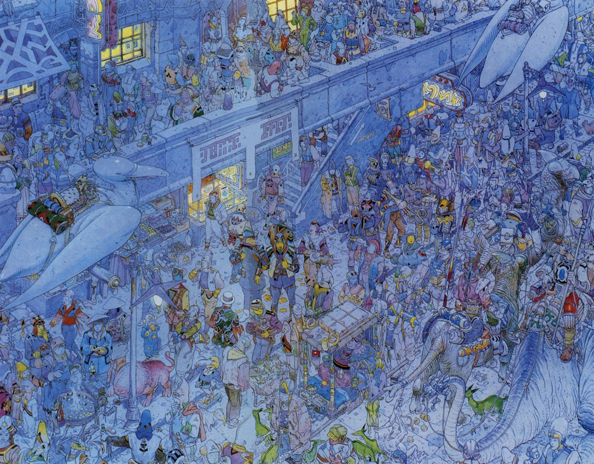 From a run of prints Moebius did with Geof Darrow,  La Cité Feu,or City of