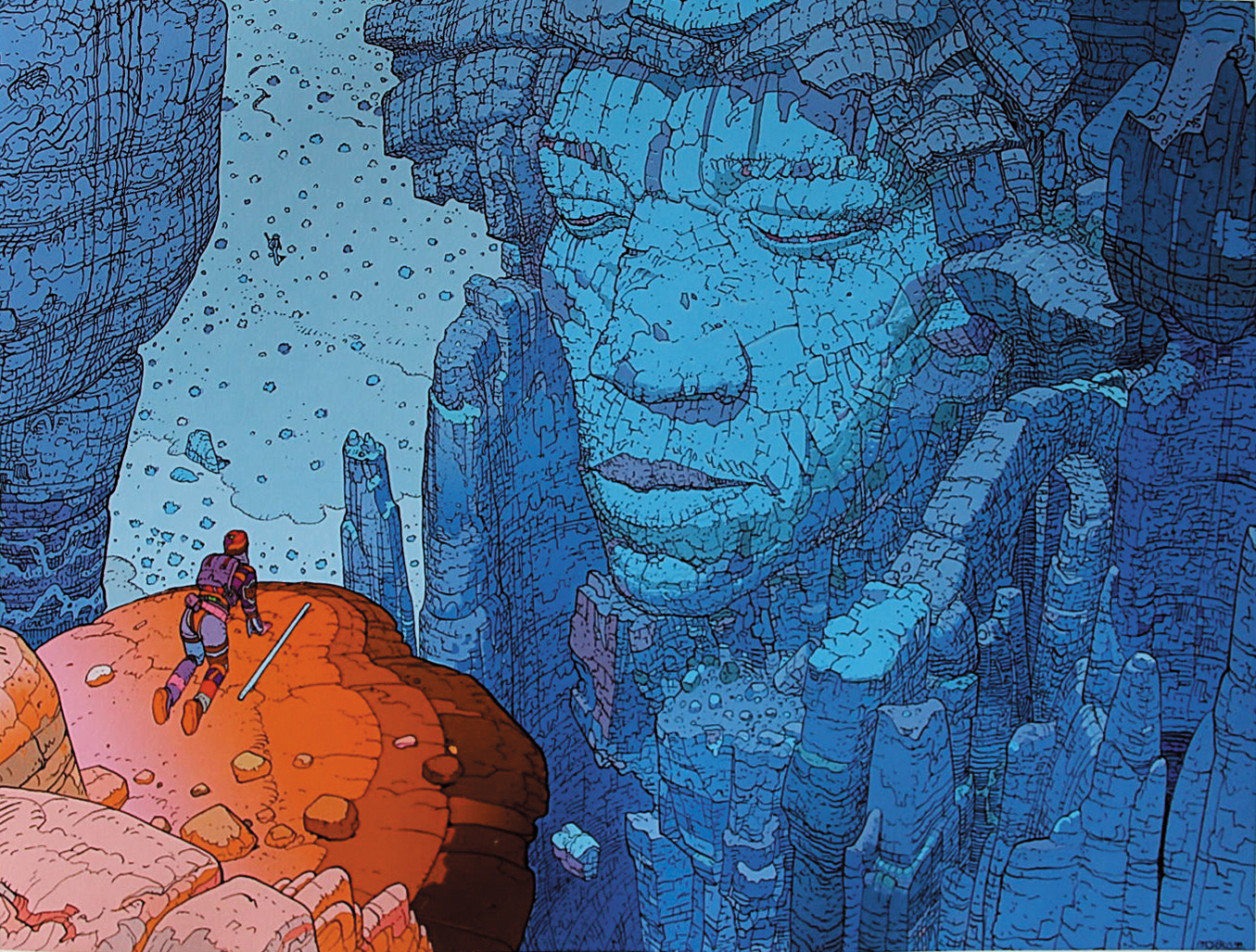 Moebius created a gatefold cover for a french compilation :  Jimi Hendrix/1 Are You Experienced, Axis: Bold As Love