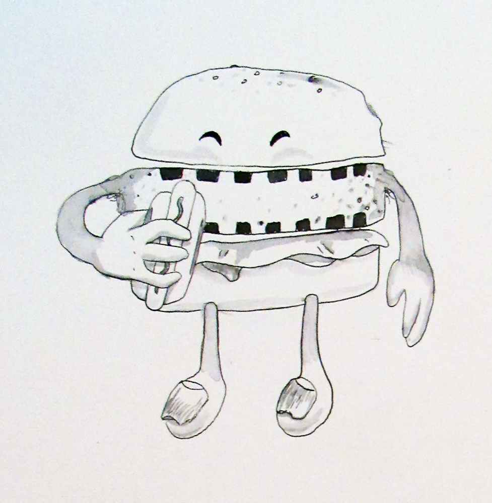 Hamburger eating a Hotdog