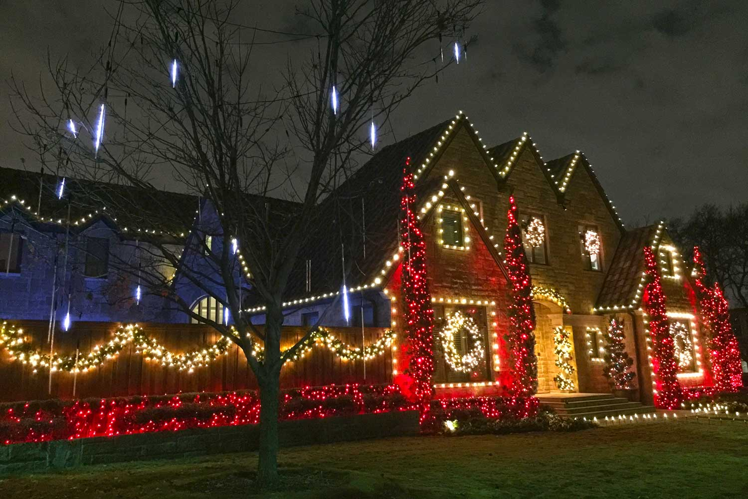 Another great looking display with fun LED motion icicle display in the trees (University Park)