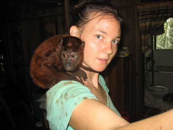 """Coto, the baby howler monkey, who I was """"mom"""" to a few days a week while I volunteered at amaZoonico"""