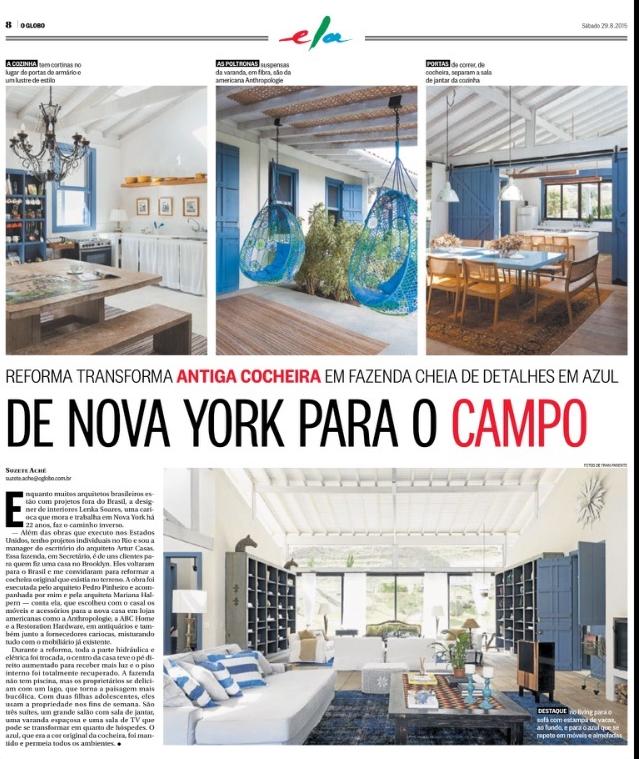 Lenka Soares Interior Design NYC - O Globo