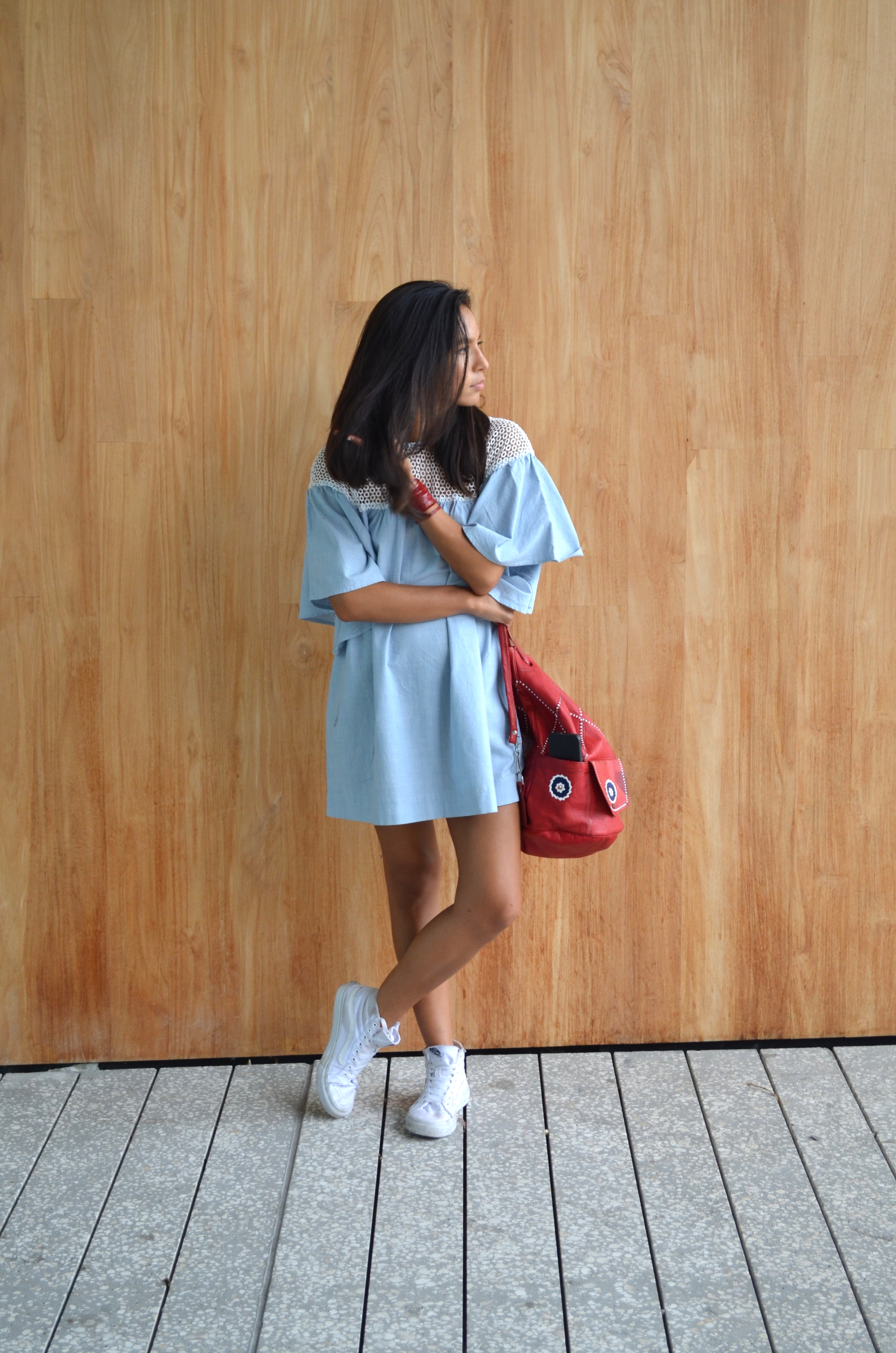 Cooperative Carnaby StreetLace-Shoulder Dress , Urban Outfitters ; Bar Stud Set,  Forever 21 ; Vans Sk8-Hi Tonal Slim Sneaker , Urban Outfitters