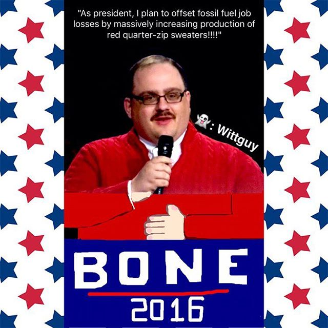 I try to avoid posting about politics on social media, but I can't stay silent any longer. I'd like to formally announce my endorsement of Kenneth Bone for president. He recognizes that -REGARDLESS of race, creed, or color- access to red cable-knit sweaters is a fundamental right, and he's exactly the leader America needs. • • • • • • • • • • • • • • • • • #kenbone #kenbone2016 #kenboneforpresident #kennethbone #kennethbone2016 #kennethboneforpresident #bonezone #election2016 #snapchatfilters #snäpchät #snäpchat #snapsterpiece #snapchatart #snapchatartist #snapchatfilter #snapchatadd #addmeonthesnap #snapchap #snapart #snapstory #snapchatstory #snapchatdrawing #wittguy #🇺🇸