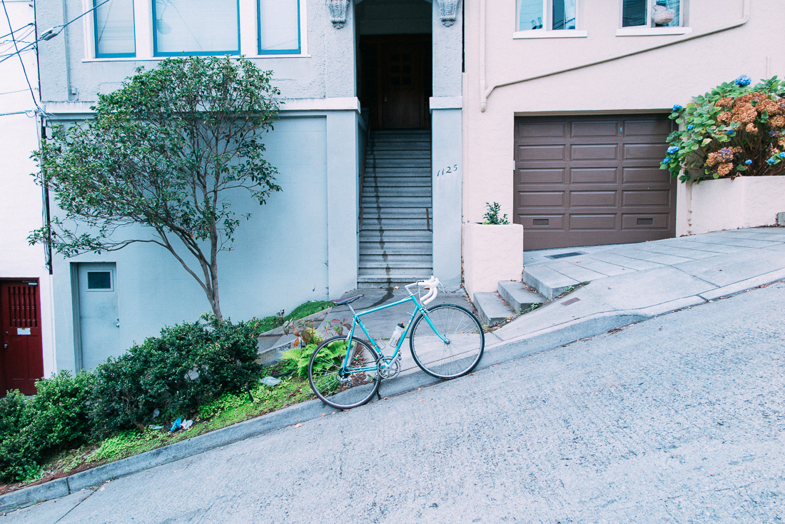 The steepest street in the city, Filbert st, with a 31.5% grade.