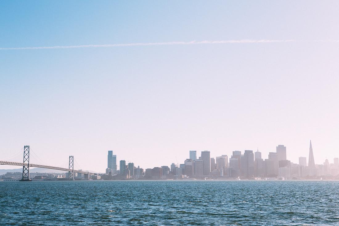 The beautiful Bay Bridge and scenic city skyline, as seen from Treasure Island.