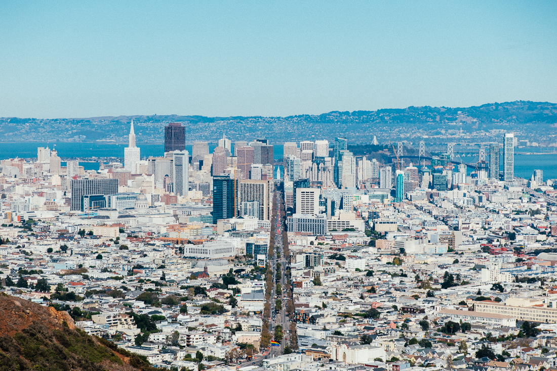 From the Twin Peaks towers, you get the best view of downtown SF. I climbed through the bushes to get a perfectly perpendicular shot of Market st.