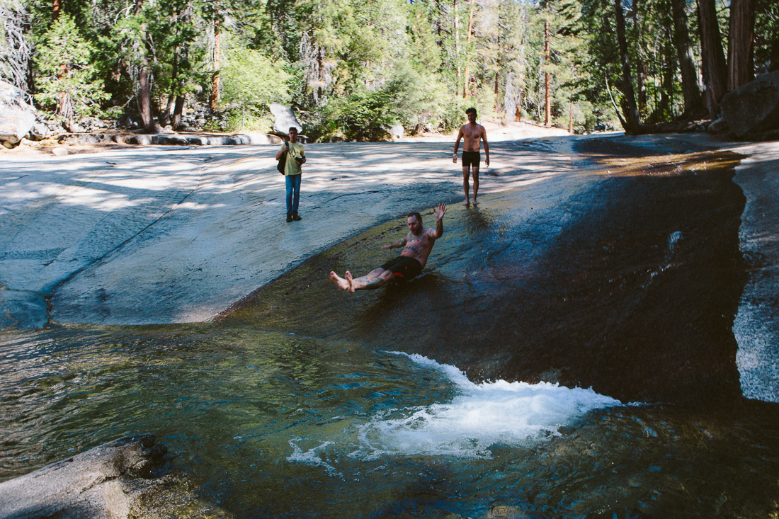 We found a natural water-slide! Even though it was freezing cold,   YOLO   ! Sorry, I couldn't resist.
