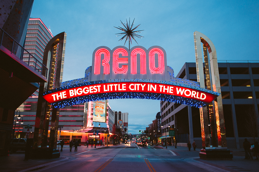 "The downtown strip.  They say ""Reno is so close to Hell, you can see Sparks!""  (Sparks is the next town over, haha)"