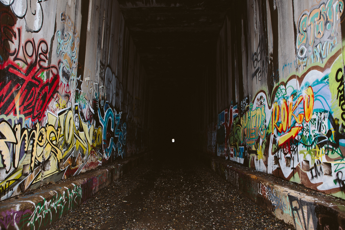 One of the tunnels serves as a graffiti artist's training grounds.