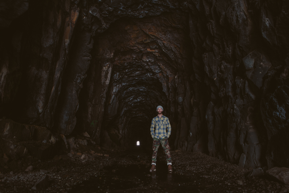 While walking 1/4 mile through this pitch black tunnel, I totally felt the ghosts of the immigrant workers around me.  This self-portrait was spooky.